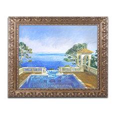 "David Lloyd Glover 'Cap Martin, Monaco' Ornate Framed Art, 16""x20"""