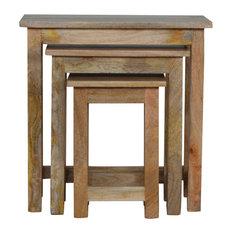 Stools, 3-Piece Set, Oak Finish Mango Wood