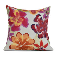 """16x16"""", Floral Outdoor Pillow, Red"""