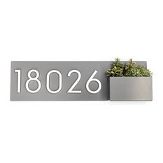 """Vista View Address Plaque, 24""""W x 7""""H,, Gray, With Numbers"""