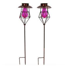 Sunnydaze Diamond Design Caged Solar Light With LEDs, Pink, Set of 2