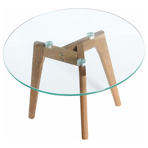 Modern Round Coffee Table With Oak Wooden Legs and Tempered Glass Top