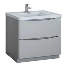Fresca Tuscany 36-inch Gloss Gray Cabinet With Integrated Sink
