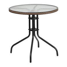 """Skovde Round 28'' Tempered Glass Metal Table Dark Brown Rattan Edging, 28"""""""