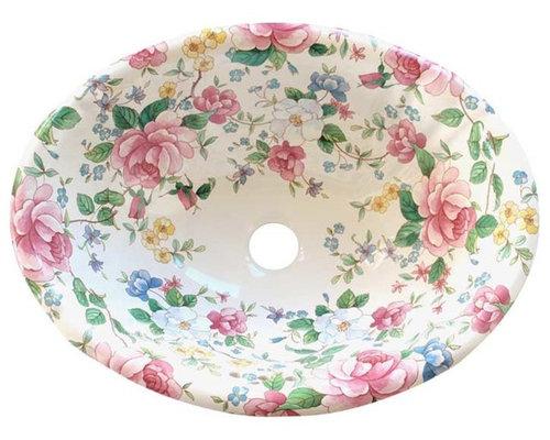 Chintz Floral Hand Painted Sink   Bathroom Sinks