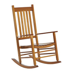 Aosom   Outsunny Porch Rocking Chair, Outdoor Patio Wooden Rocking Chair,  Natural   Outdoor