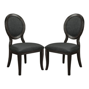 Steele Round Fabric Chair Set Transitional Dining