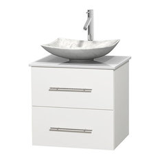"Centra 24"" White Bathroom Vanity White Stone Top, Arista Carrera Marble Sink"