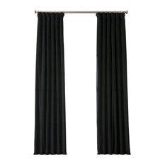 "Signature Warm Black Blackout Velvet Curtain Single Panel, 50""x108"""