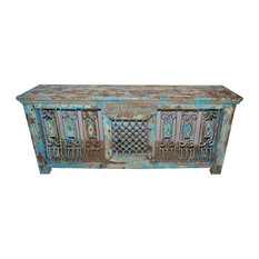 Mogul Interior - Consigned Hand-Carved Antique Distressed Jali Table - Console Tables