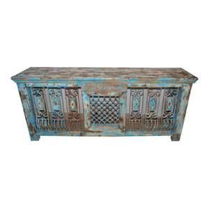 Mogul Interior - Consigned Hand-Carved Antique Distressed Jali Table - Coffee Tables