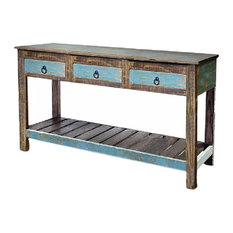 Crafters and Weavers - Rustic Reclaimed Solid Wood Sofa Console Table Distressed Entry Way Table - Console Tables