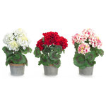 Melrose International - Potted Geranium, Set Of 3, White/Red/Pnik - Potted spring florals in a tin like pot with twine accent around the rim. Each features a different colored flower with accents of greenery. Perfect for the spring and summer!