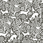 NuWallpaper - Charcoal Merriment Peel & Stick Wallpaper Swatch Sample - With sweet songbirds, charming bunnies and mischievous squirrels, this woodland print has a delightful folklore style. Its silhouette design features white and charcoal hues. Charcoal Merriment Peel and Stick Wallpaper comes on one roll that measures 20.5 inches wide by 18 feet long. Delightful woodland design with Scandinavian influence; Peel and stick to apply, pull up to remove; NuWallpaper is safe for walls and leaves no sticky residue behind; Easily repositionable while installing; NuWallpaper sticks to any smooth, flat surface - perfect for DIY projects; Ideal for rental or home decorating;Comes on a 20.5-in x 18-ft roll and covers about 30.75 sq. ft;Design repeat of 21-in;This product should NOT be applied to textured walls - smooth clean, dry, painted surface only (no Non-Stick paint or soap residue).