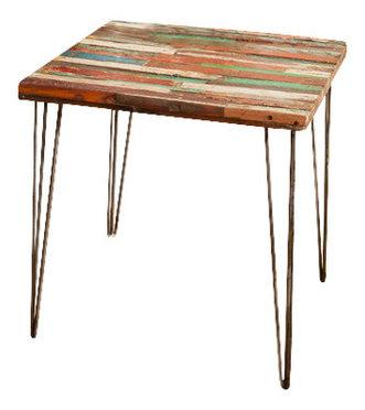 Reclaimed Bali Boat Wood End Table Side Table, Hairpin Legs Idea