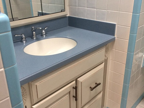 What To Do With Blue Vanity Top In Retro 1960 Bathroom