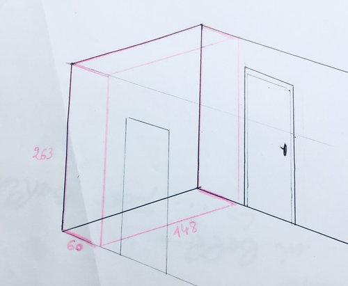 ... Sur 148 Cm De Large, Et La Hauteur Sous Plafond Est De 263 Cm. Mon Idée  Est De Mettre Deux Portes Coulissantes Miroir Du0027environ 75cm De Large.