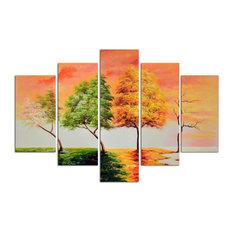 Seasonal Trees Original Oil Painting On Canvas, Set of 5