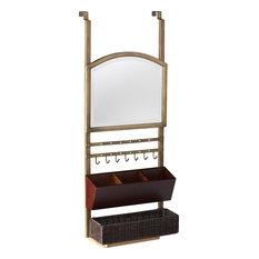 Cantera Over-the-Door Organizer/Mirror, Aged Gold