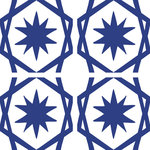 """Tyles by the Nic Studio - 8""""x8"""" King Blue Marrakesh Sophisticated Vinyl Wall Decor, Set of 12 - Our Marrakesh pattern is inspired by the life and energy of its namesake city in Morocco. Tyles from The Nic Studio offer a stylish solution to changing your space without commitment. The sets of were put together for ease of application and flexibility of space. Whether it's a full wall, a border, or a detail, Tyles are the perfect size to work with, and are ideal for renters and owners alike. Package includes: 12 8x8"""" square Tyles, application instructions, a sample piece of vinyl to test on your wall for adherence, and a plastic tool for application. Tyles are designed and packaged in Brooklyn, New York. Manufactured in the USA."""