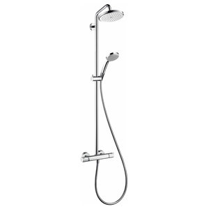 Shower System in Chrome Solid Brass with Thermostatic Control and Rotating Arm