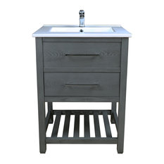 Priva Vanity With Single-Hole Ceramic Top, Graywood, 25""
