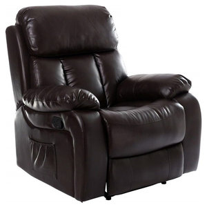 Modern Recliner in Brown Bonded Leather with Armrest