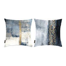 "Oliver Gal 2-Piece ""Abstract Blue and Gold"" 18""x18"" Pillow Set"