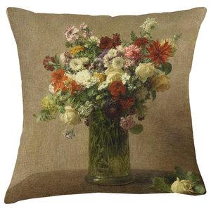 Velvet Tableau Cushion, Nasturtiums