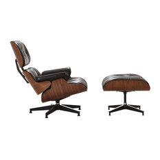 Mid-Century Plywood Lounge Chair, Aniline Leather, Tall Version - Walnut/Black