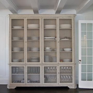 Vintage Wire-Window Cupboard/China Cabinet