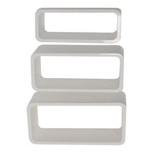 Charlton Retro Wall Mounted Floating Display Shelves, 3-Piece Set, White