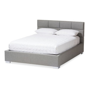 Sophie Fabric Upholstered Platform Bed, Gray, Queen