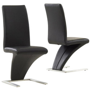 Hereford Dining Chairs, Black Faux Leather, Set of 2
