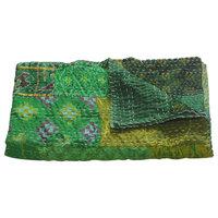 Peacock Kantha Throw Blanket