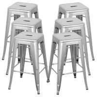 Silver Backless Vintage-Style Stackable Stools, Bar Height, Set of 6