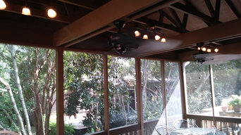 A roof I build over a porch an screened it in an installedtrack lights an fans a
