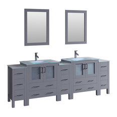 """96"""" Double Vanity With Tempered Glass Top Gray"""