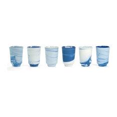 Vij5 Pigments and Porcelain Tea Mugs, Blue and White, Set of 6