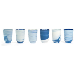 Vij5 Pigments and Porcelain Tea Mugs, Blue and White, Set of 6