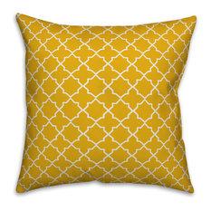 Yellow and White Quatrefoil 20x20 Throw Pillow