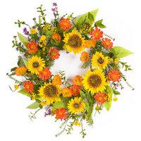 "Sunflower Wreath 22""D Polyester/Plastic"