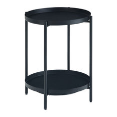 Monet 17-inch Wide Round Modern Industrial Metal End Table Black