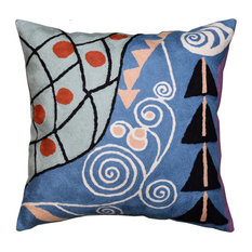 """Klimt Blue Pillow Cover Expectations Art Nouveau Hand Embroidered Wool 18x18"""""""