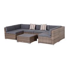 Outsunny 7pc Outdoor Rattan Wicker Patio Sofa Set, Mixed Greys