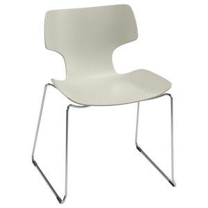 Bone White Sled-Framed Chair