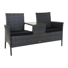 Charles Bentley & Son Ltd - Charles Bentley Grey Rattan Companion Love Seat Bench - Garden Love Seats