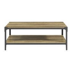 Metal And Wood Angle Iron Rustic Coffee Table Rustic Oak