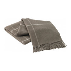 Taupe Windowpane Cashmere Throw