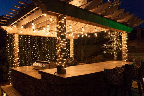 Backyard Oasis With Patio Lighting